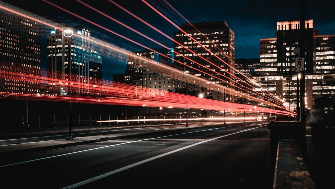 Light trails on busy road
